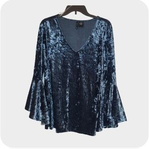 New Directions Blue Velour Bell Sleeve Top Size 2X